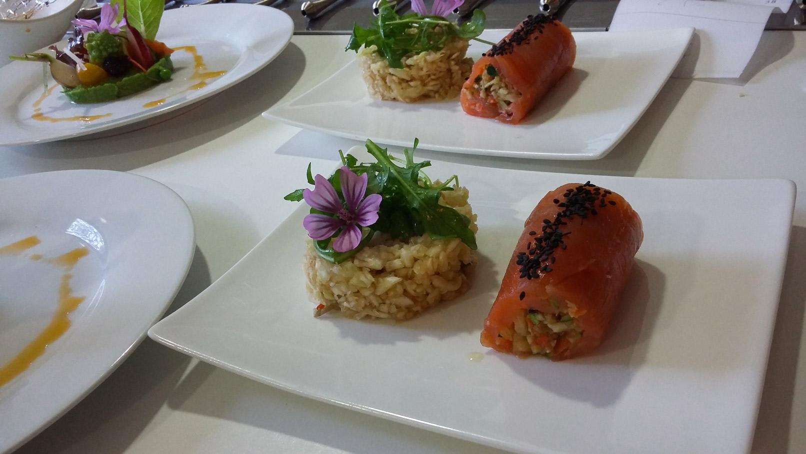 Maki de truite salée au tartare de légumes au sésame - L'antre Gourmand