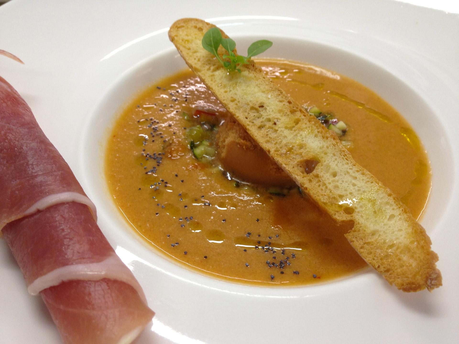 Gaspacho et sorbet tomate - L'antre Gourmand